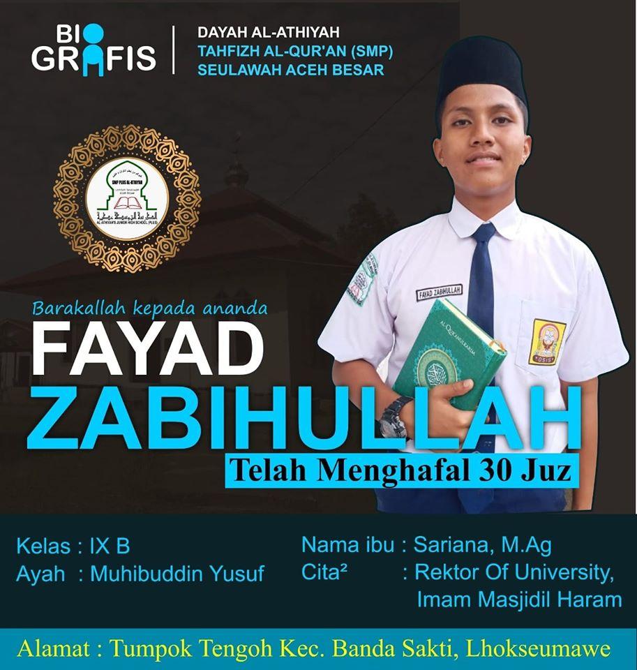 Barakallah Ananda Fayad Zabihullah yang Telah menyelesaikan Hafalan 30 Juz